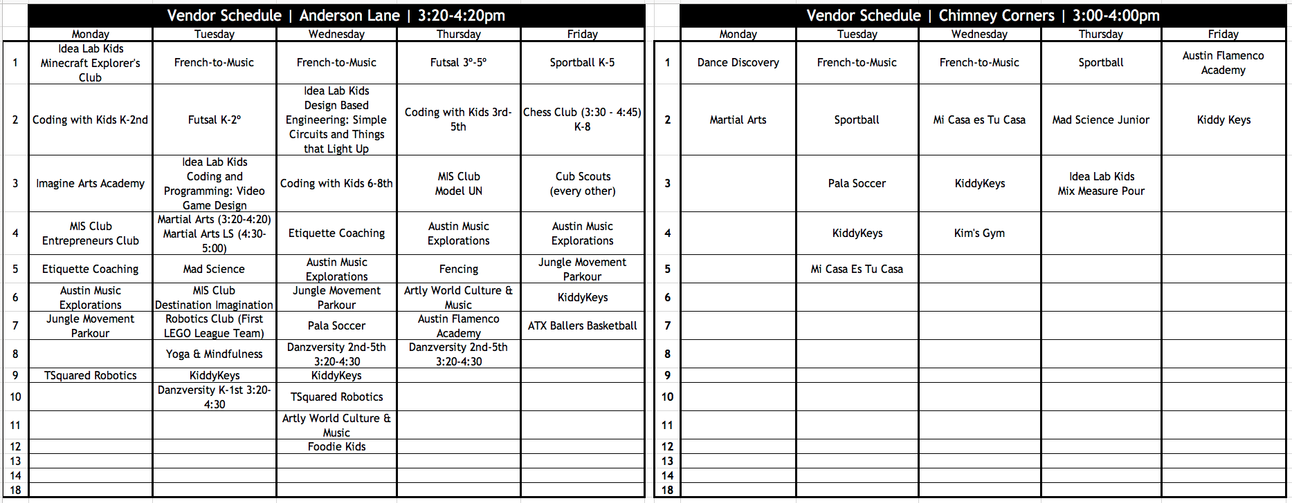 MIS after school program schedule