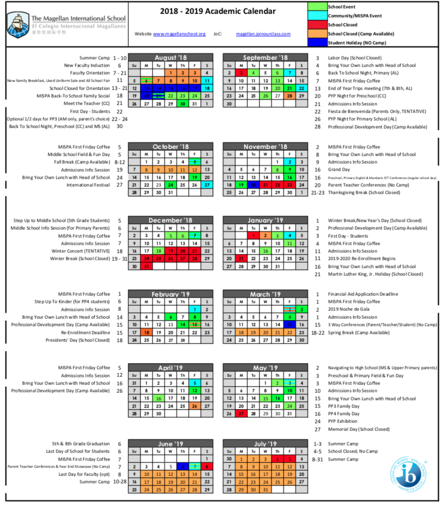 MIS academic calendar