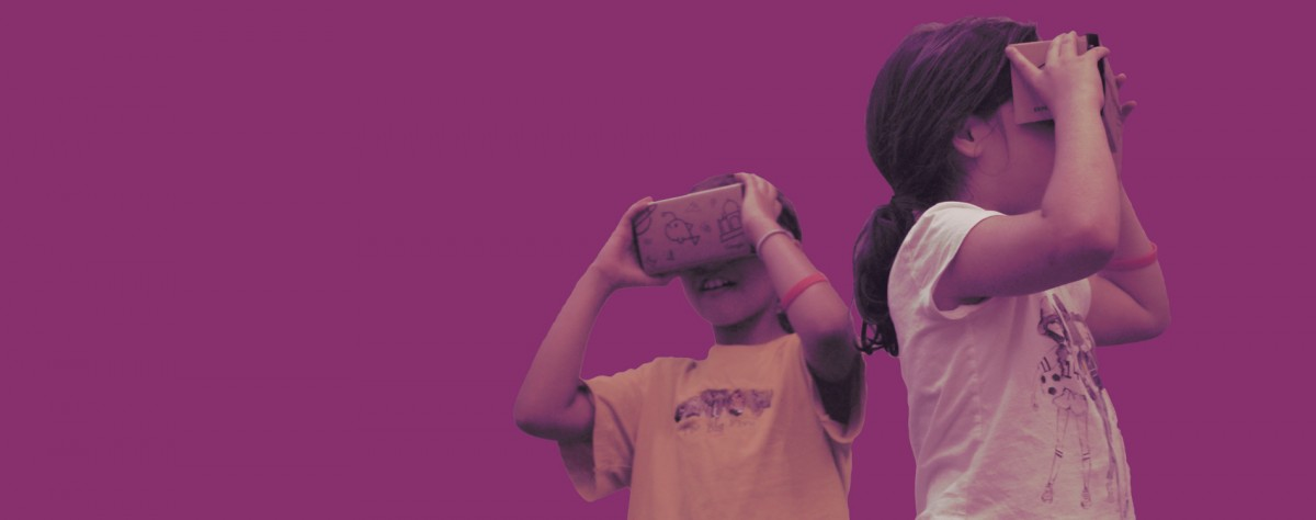 girls with VR headsets, learning tech